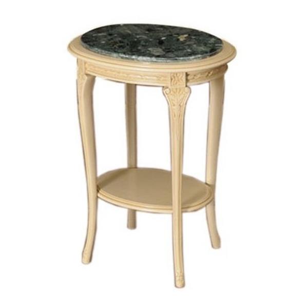 【イタリア製家具】花台/コンソール(オーバル・ベージュ枠・大理石緑天板)