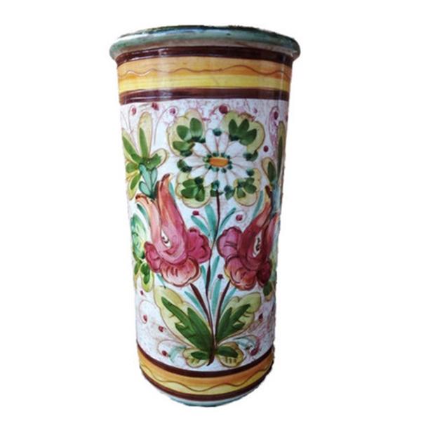 【イタリア製】【イタリア製】 陶器かさ立て  ストレート 花柄