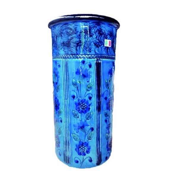 【イタリア製】【イタリア製】 陶器かさ立て ストレート 青地 花柄1