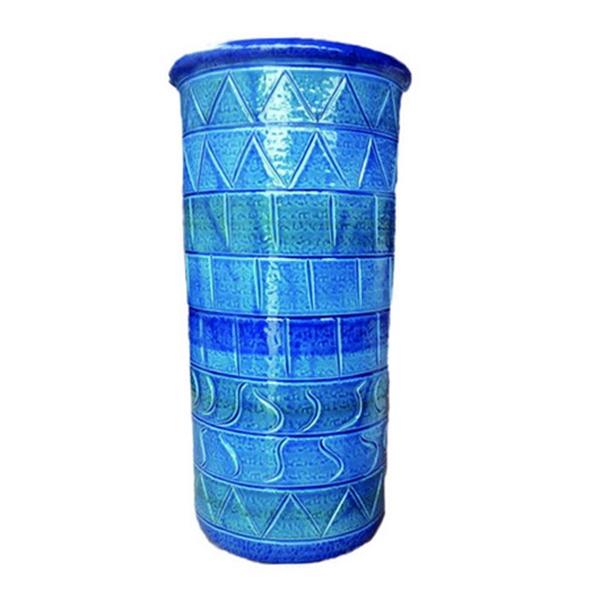 【イタリア製】【イタリア製】 陶器かさ立て ストレート 青地 幾何学柄