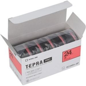(業務用5セット) キングジム テプラ PROテープ/ラベルライター用テープ 【幅:24mm】 5個入り カラーラベル(赤) SC24R-5P