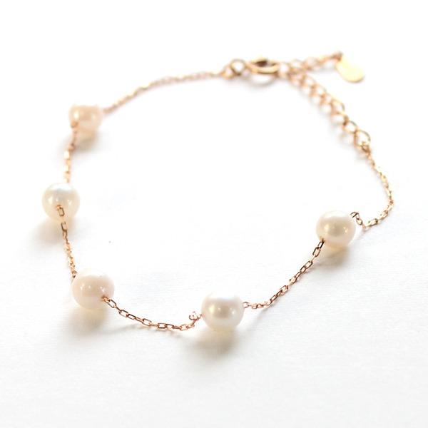 18金ピンクゴールド アコヤ真珠 ステーションブレスレット【代引不可】