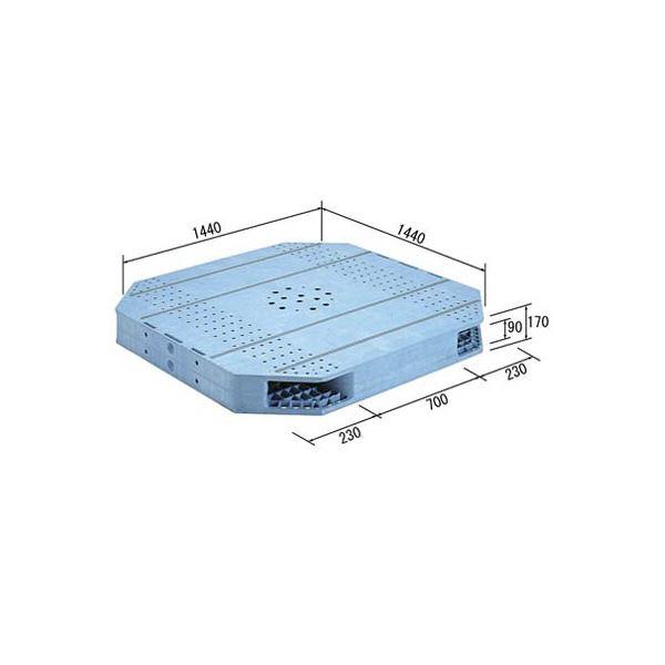 三甲(サンコー) プラスチックパレット/プラパレ 【両面使用型】 八角形パレット 段積み可 R2-144144F-FJ ライトブルー(青)【代引不可】