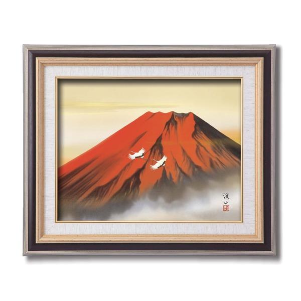 日本画額/紘黒フレームセット 【F6号】 伊藤渓山 「赤富士」 459×550×32mm 箱入り
