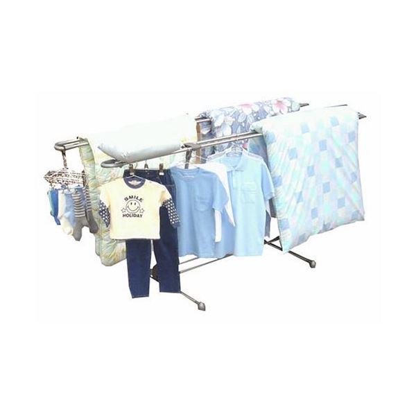 布団干し/洗濯物干しスタンド 【V型】 4枚干し可 ステンレス 干し部:伸縮自在 Wバー仕様