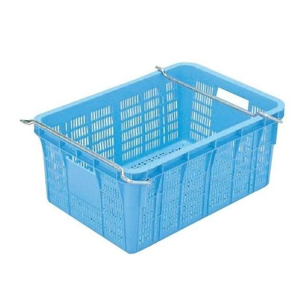 【5個セット】プラスケット/網目ボックス 【No.650 金具付き】 ブルー スタッキング金具使用時:段積み可【代引不可】