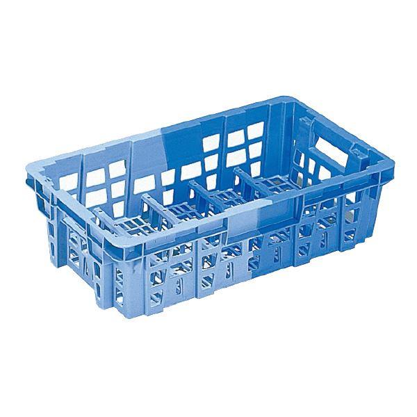 (業務用10個セット)三甲(サンコー) ヨーグルトクレート/乳製品配送用コンテナ Z-10 ブルー×ライトブルー 【代引不可】