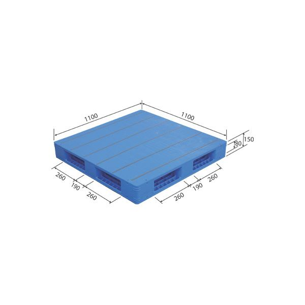 三甲(サンコー) プラスチックパレット/プラパレ 【両面使用タイプ】 軽量 LX-1111R4-3 ブルー(青)【代引不可】