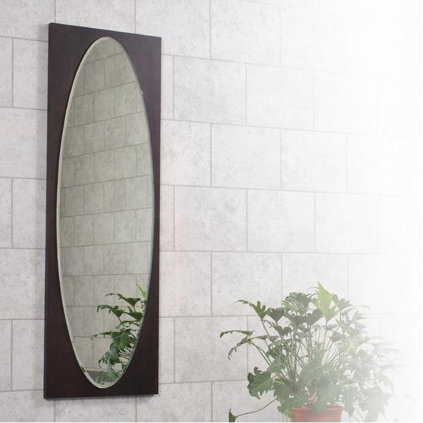 オーバル型ウォールミラー/壁掛け鏡 【WE】 幅43cm×奥行2.5cm×高さ125cm 飛散防止加工【代引不可】