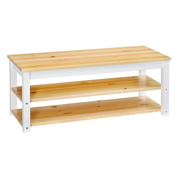 シンプル テレビ台/テレビボード 【ナチュラル】 幅100cm 木製 棚板2枚 脚付き 〔リビング ダイニング〕【代引不可】