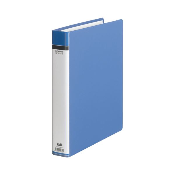 (まとめ) TANOSEE クリヤーファイル(貼り表紙) A4タテ 30穴 50ポケット付属 背幅51mm 青 1セット(6冊) 【×2セット】