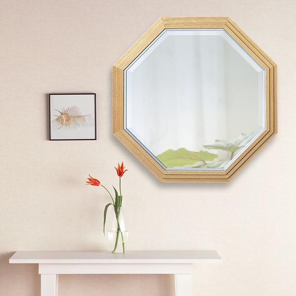 ビーチ材フレーム ウォールミラー/壁掛け鏡 【No.2】 正八角形型 飛散防止加工【代引不可】