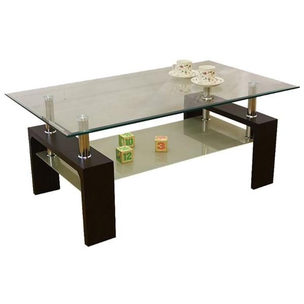 強化ガラステーブル/ローテーブル 【幅105cm】 高さ45cm 棚収納付き ブラウン【代引不可】