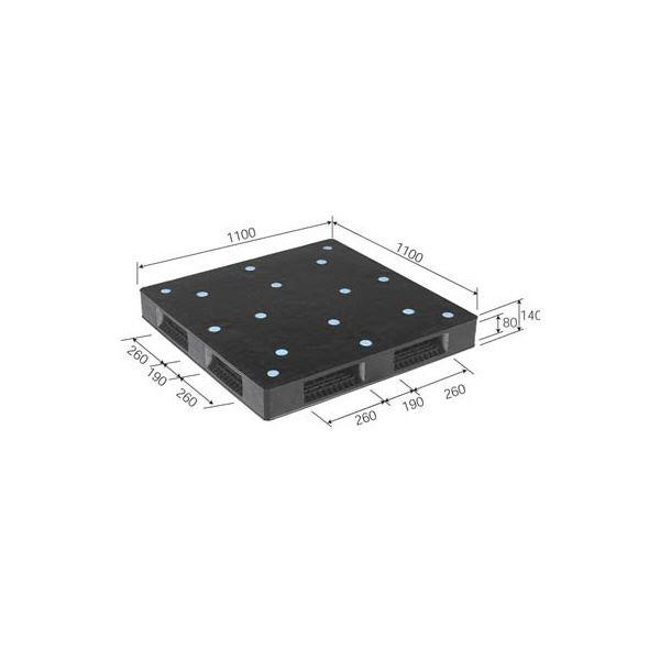 三甲(サンコー) プレスパレット/リサイクルパレット 【環境対応型】 R4-110110P-B ブラック(黒)【代引不可】