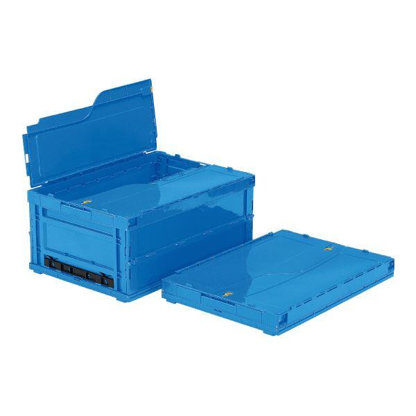 (業務用5個セット)三甲(サンコー) 折りたたみコンテナボックス/サンクレットオリコン 【フタ付き】 P110B ブルー(青) 【代引不可】