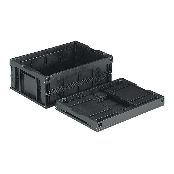(業務用5個セット)三甲(サンコー) 折りたたみコンテナボックス/オリコン 【54L】 導電 55B ブラック(黒) 【代引不可】