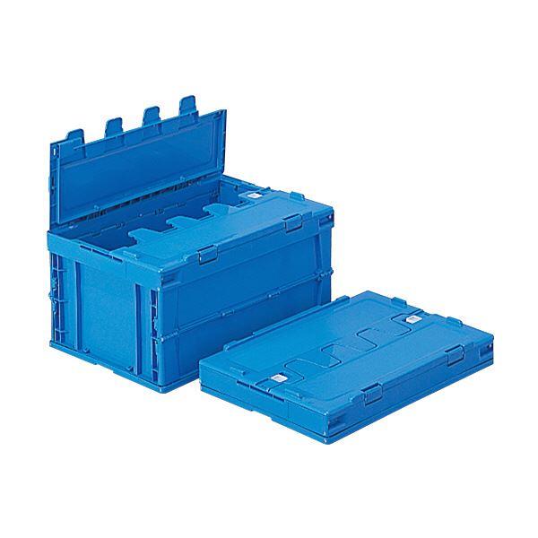 (業務用5個セット)三甲(サンコー) 折りたたみコンテナボックス/サンクレットオリコン 【フタ付き】 P41B ブルー(青) 【代引不可】