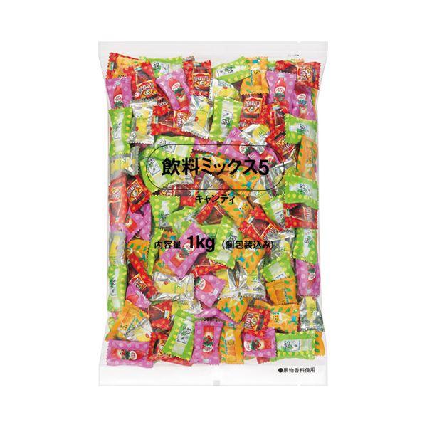 (まとめ)ロッテ 飲料ミックス5 キャンディー 徳用 1kg袋【×5セット】
