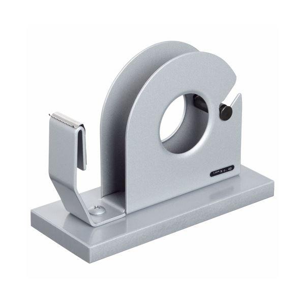 (まとめ) ライオン事務器 テープカッター大巻・小巻両用 65×150×110mm シルバー No.40 1台 【×5セット】