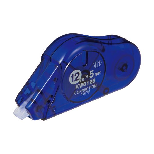 (まとめ) シード 修正テープ ケシワードロング5mm幅×12m ブルー 使いきりタイプ KW612B-10P 1パック(10個) 【×5セット】