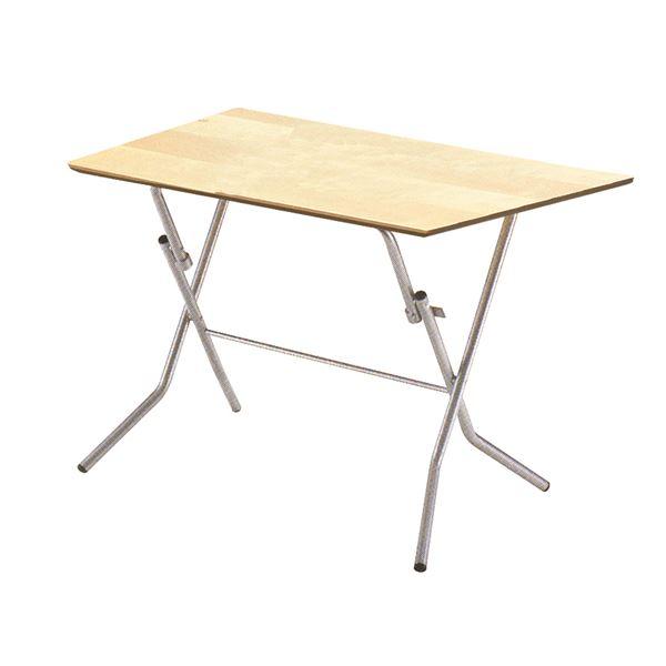折りたたみテーブル 【幅90cm ナチュラル×シルバー】 日本製 木製 スチールパイプ 『スタンドタッチテーブル900』【代引不可】