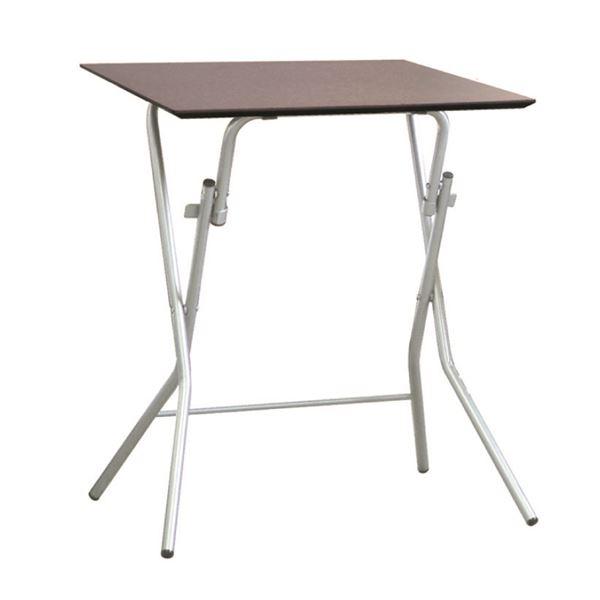 折りたたみテーブル 【幅63.5cm ダークブラウン×シルバー】 日本製 木製 スチールパイプ 『スタンドタッチテーブル645』【代引不可】