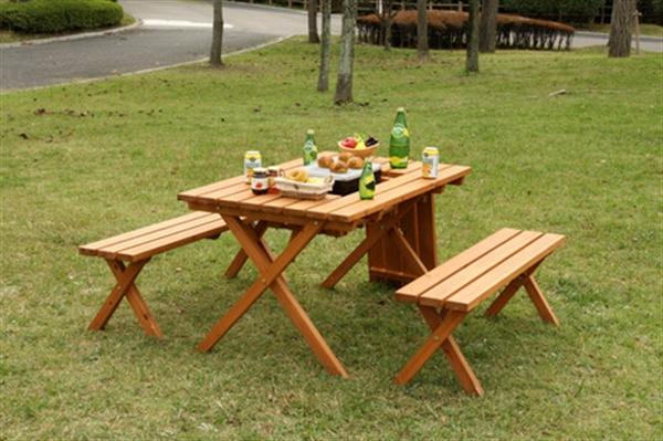 杉材 BBQテーブル&ベンチセット (コンロスペース付) (81761)