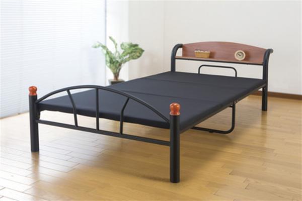 木製棚付きパイプベッド シングル(引き出しなし) シルバー