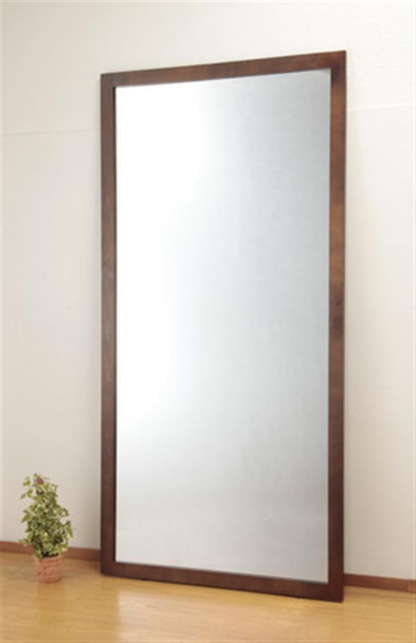 天然木製大型立掛けミラー(飛散防止フィルム貼り)90×180cm XLサイズ ナチュラル