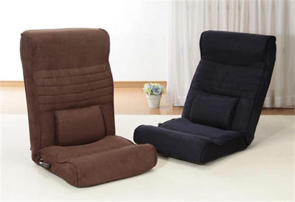 腰にやさしい高反発座椅子DX(座ったままリクライニング) 2脚組 ブラウン+ネイビー