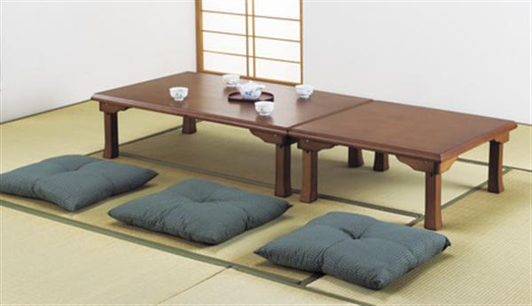 楢天然木折れ脚座卓けやき色 150cm幅