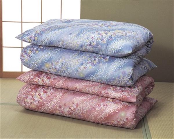高級綿サテン敷布団2色組 扇柄(ピンク系+グリーン系)