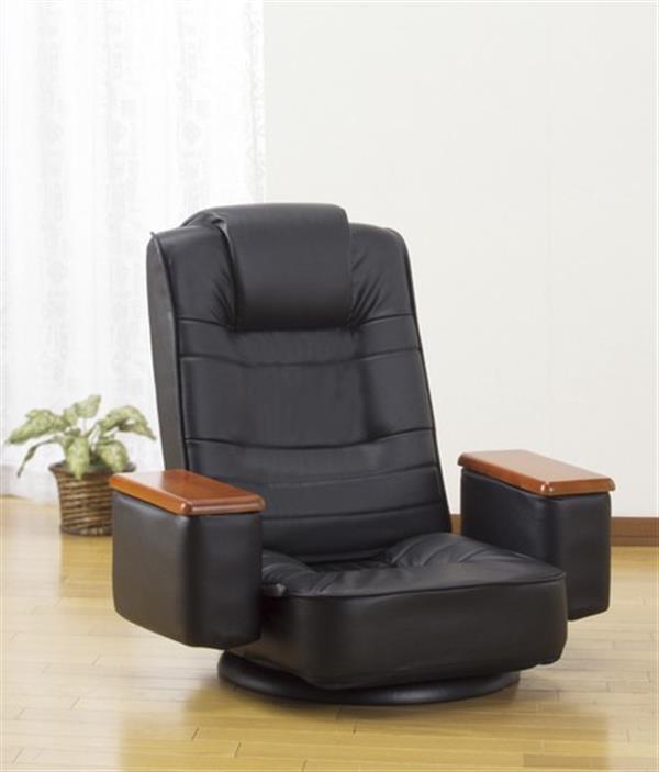 天然木肘付き高反発回転座椅子座ったままリリクライニング ゴブラン柄