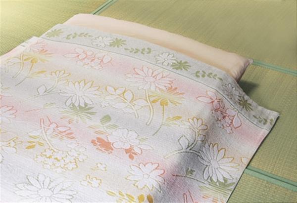 今治産ジャカード織タオルケット3色組 ブルー・ピンク・グリーン 140×190cm