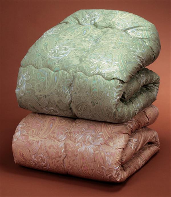 ウールキルト加工掛布団2色組 シングルピンク・グリーン ニュージーランド産