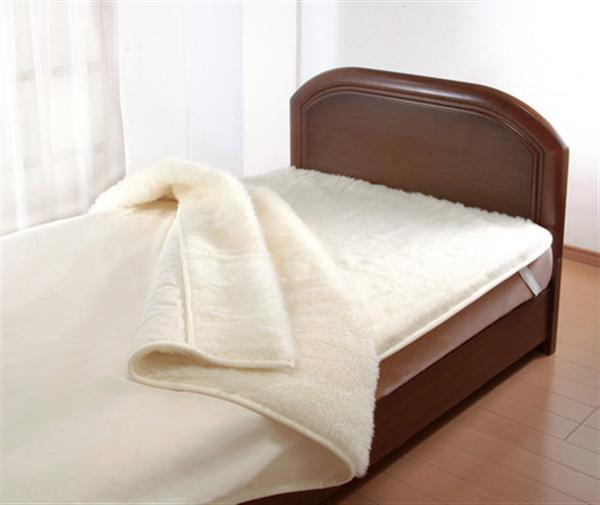 ウールマーク付きウオッシャブルウール毛布アイボリー 敷毛布ダブル