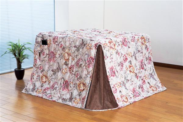 ジャカード織ハイタイプこたつ掛布団花柄225×265cm(ハンナ)