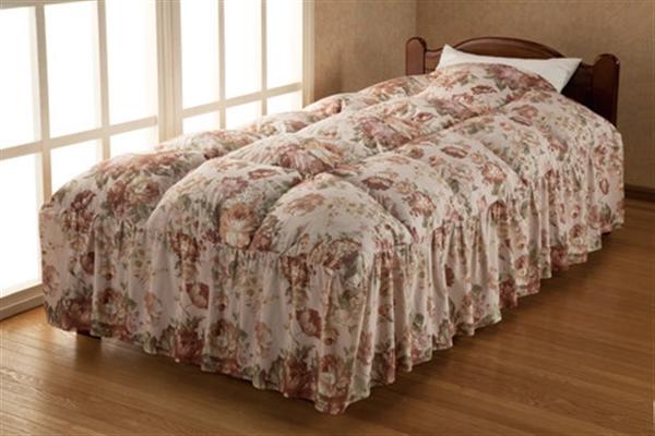 防ダニ洗えるベッド用羽根掛布団ピンクベージュ ダブル