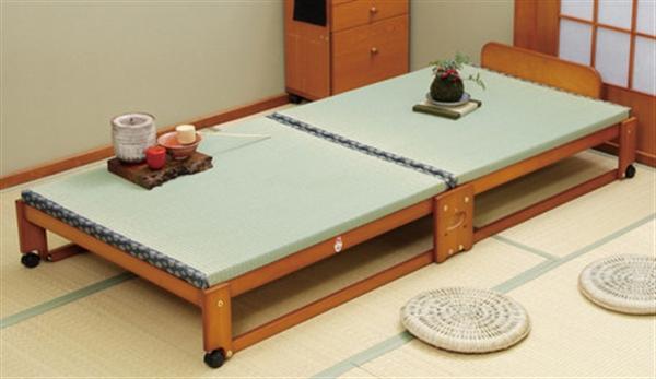 らくらく折りたたみ式畳ベッドワイド <中居木工>