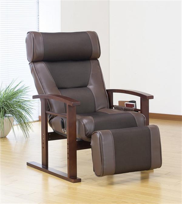 リクライニング高座椅子 ブラウンヘッド&フットレスト付き