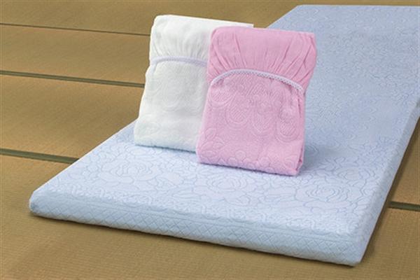 ジャカード織ワンタッチタオルシーツ3色組ブルー・ピンク・ホワイト シングル 泉州産