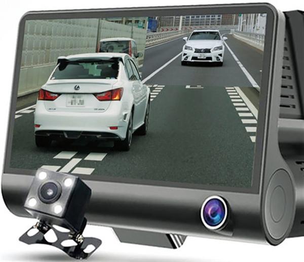 3カメラ搭載ドライブレコーダー ブラック(あおり運転防止プレート付き)
