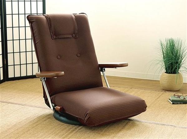 <日本製>ひじ付き回転座椅子(座ったままリクライニング) ブラウン
