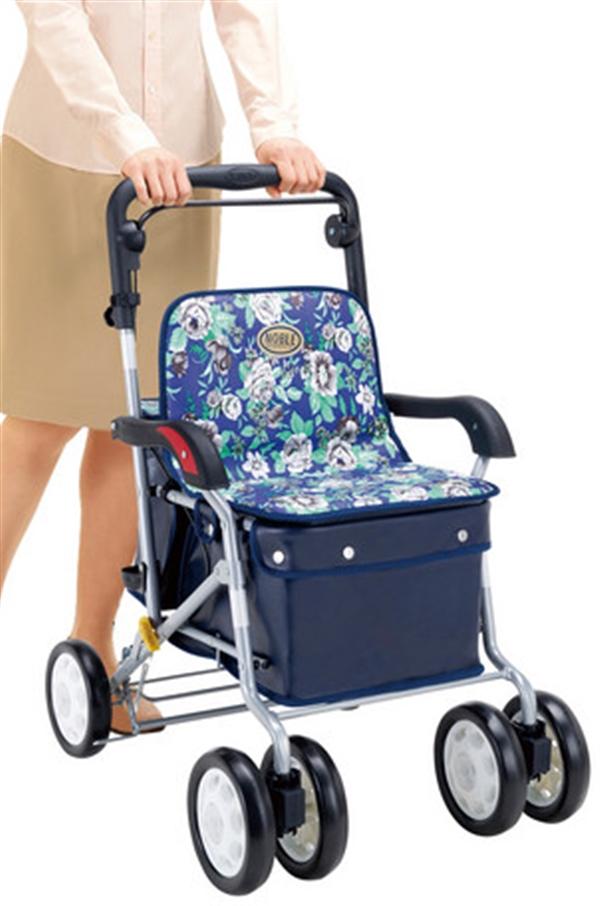 座れるアルミ製シルバーカー 青花柄