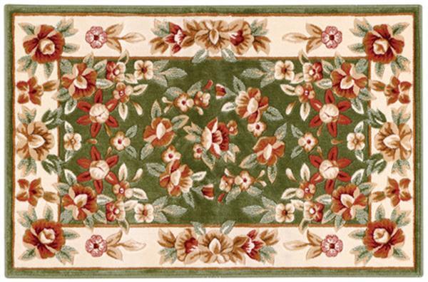 シルク調花柄玄関マット 「エーデル」 グリーン 90×150cm