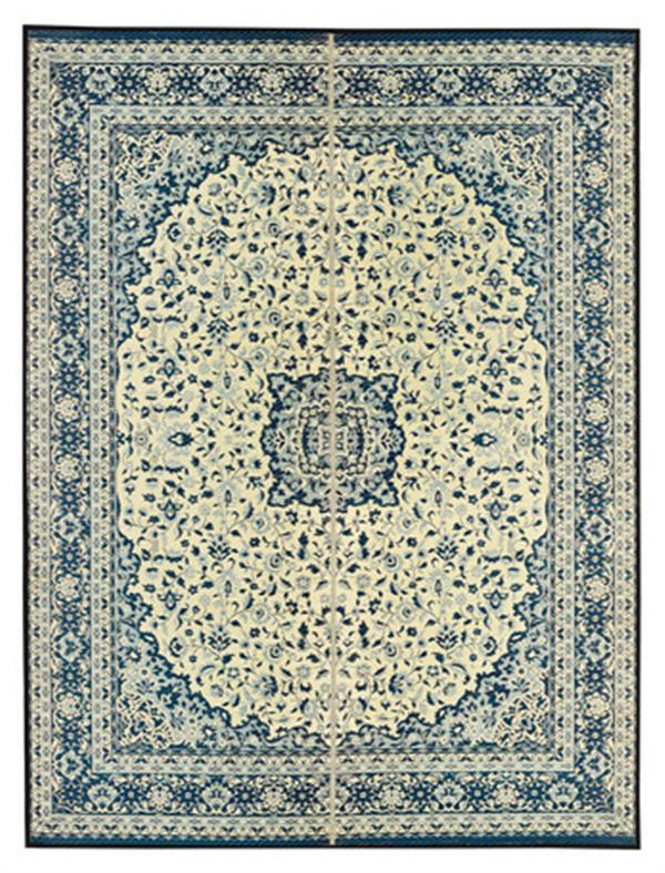 【クラシック柄】い草ラグ カーペット 裏貼有「コンチェルト」 ブルー 約191×191cm