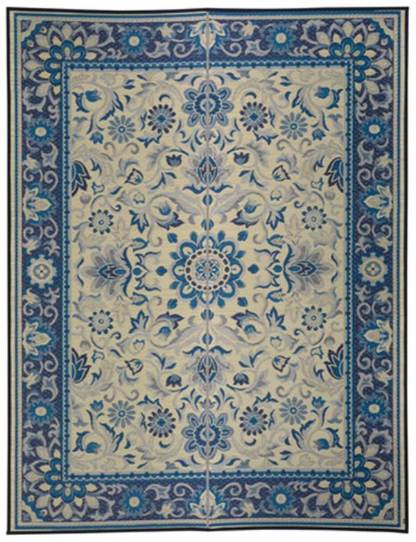 国産い草ラグ 「いざよい」 ブルー 約261×261cm
