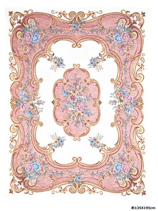 イタリア製 ラグ「ROMA」 ピンク シェニールゴブラン織 約200X200cm