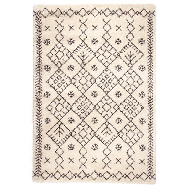 ベルギー製 ウィルトン織ラグ 長毛 「ROYAL NOMADIC モロッコ」 アイボリー 約200X250cm