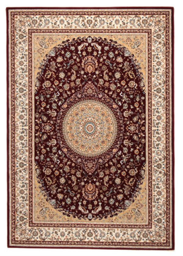 【洋風・エレガント】トルコ製 ウィルトン織ラグ 「ローサマルカンド」レッド 約240X240cm